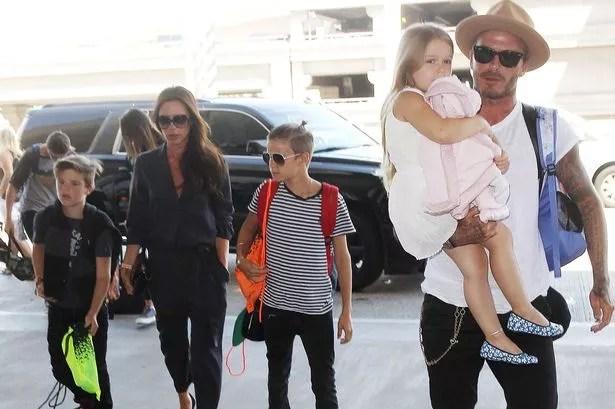 David Beckham and Victoria Beckham at LAX Airport, Los Angeles, America - 31 Aug 2015
