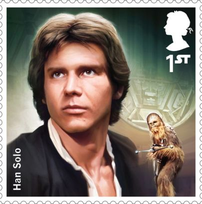A stamp featuring Han Solo which is part of a new set celebrating the Star Wars movies