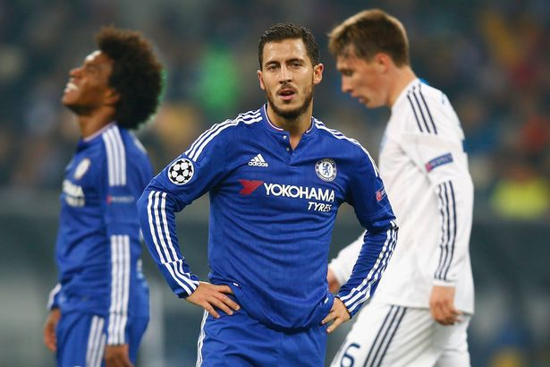Eden Hazard looks on