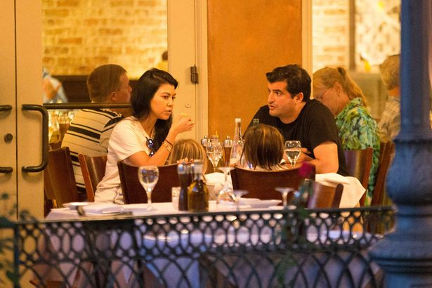 Kourtney Kardashian out for dinner with her children and an unknown male friend in Calabasas