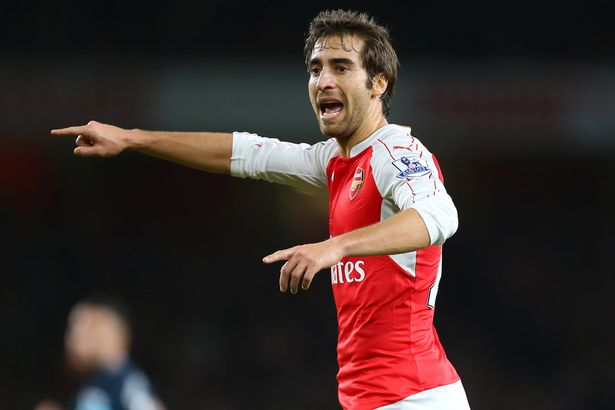 Mathieu Flamini of Arsenal during the Barclays Premier League match between Arsenal and Manchester City at the Emirates Stadium on December 21, 2015 in London, England.