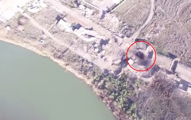 Drone Films Burning of Iraqi Forces Armoured Vehicles
