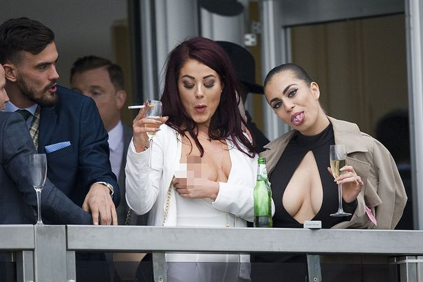 Reality-TV-star-Jessica-Hayes-l-shows-her-breasts-alongside-Kate-Salmon-as-they-watch-the-racing-from-a-hospitality-box 18+: Jessica Hayes has n*pples slipped out in crop top
