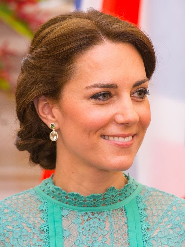 Kate had her hair in an elegant up-do which showed off stylish earrings