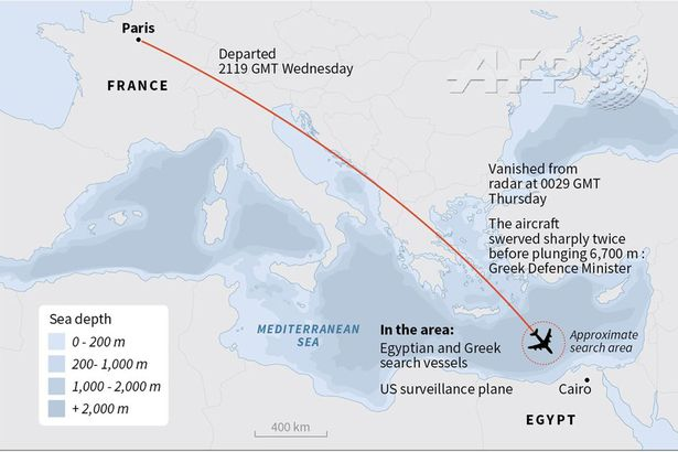 Map showing route of Egyptair MS804 before it crashed