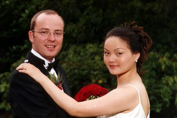 Robert Kerr and Xin Xin Liu on their wedding day