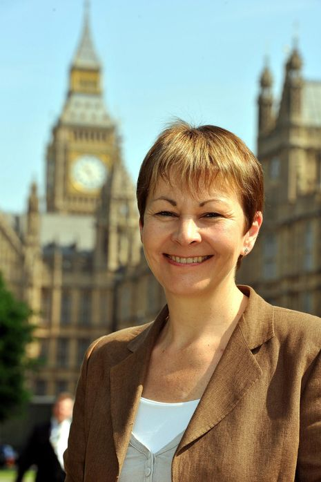 Caroline Lucas the new MP for Brighton Pavilion, outside the Houses of Parliament. She is the first Green Party MP to be elected to Westminster