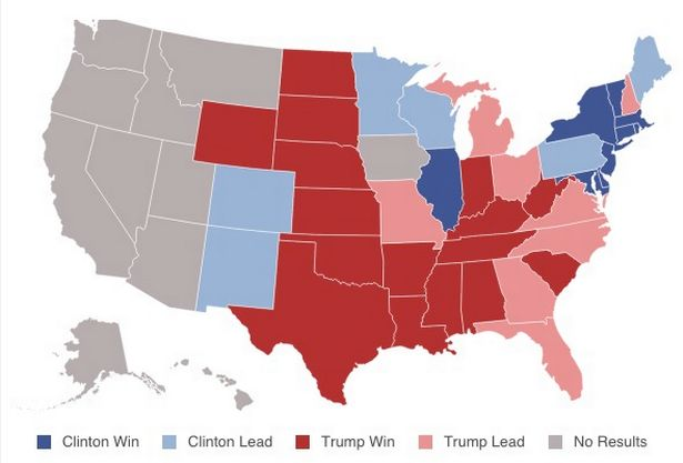 The US presidential election results and projections at 2.50am UK time