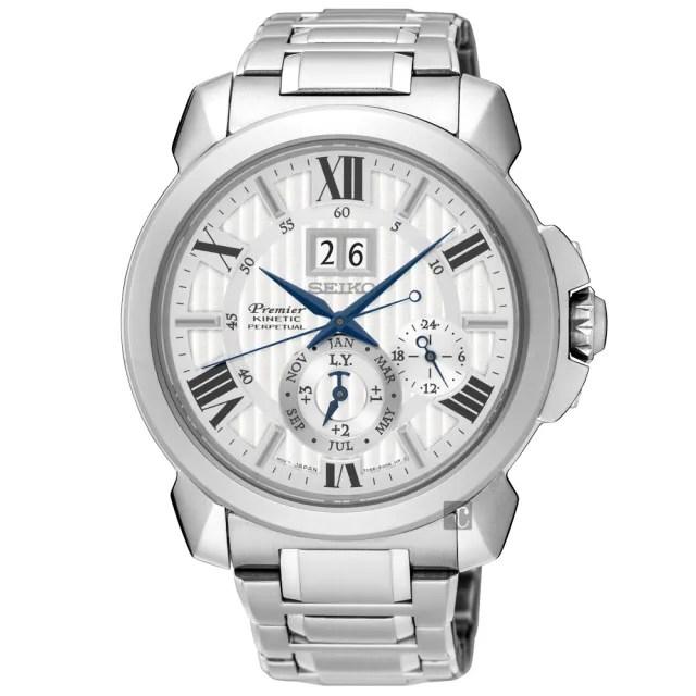 【廣告款 SEIKO】精工 Premier 萬年曆大視窗男錶-43mm(7D56-0AE0S  SNP139J1)