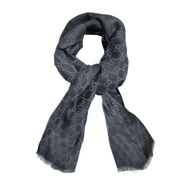 【GUCCI 古馳】281942 經典GG緹花線條羊毛混絲斜紋雙色流蘇披巾/圍巾(深灰色)