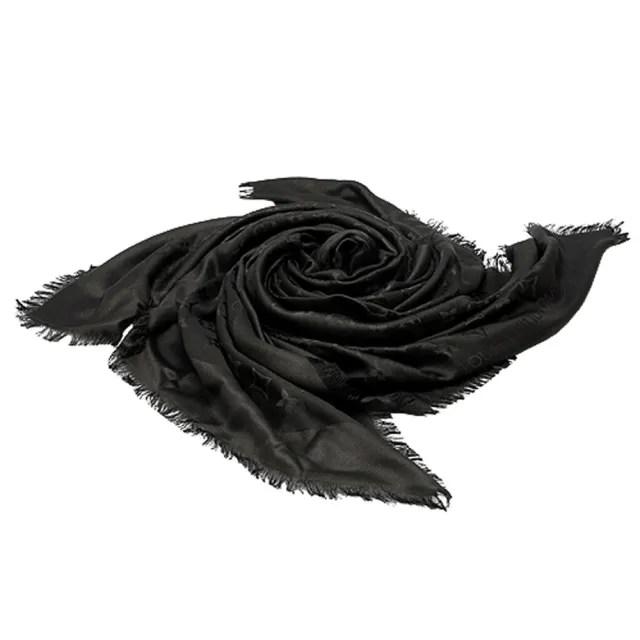【Louis Vuitton 路易威登】M71329 MONOGRAM印花絲羊毛披肩(黑)