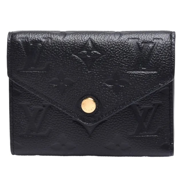 【Louis Vuitton 路易威登】M64060經典Victorine系列Monogram Empreinte皮革壓花三折暗釦短夾(黑)