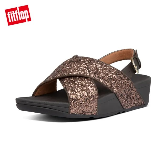 【FitFlop】LULU GLITTER BACK-STRAP  SANDALS 經典亮片後帶涼鞋-女(巧克力棕)