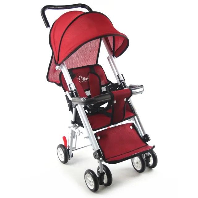 【S-Baby】第三代五點式安全帶輕便型推車-紅(可變座椅)