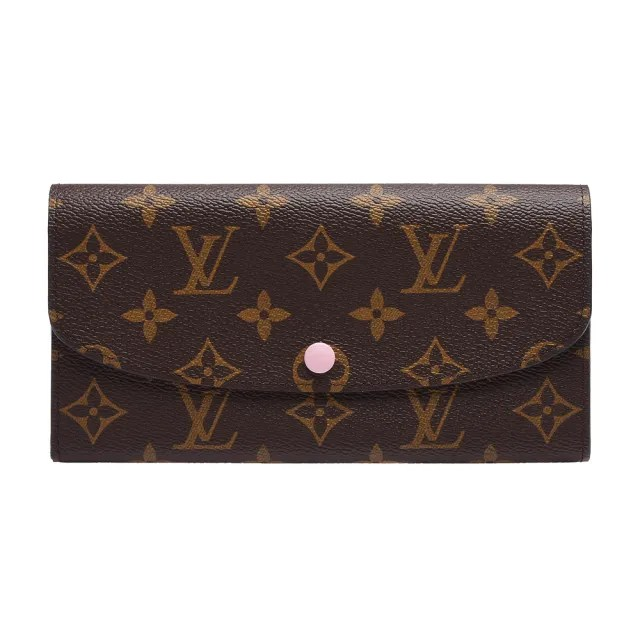 【Louis Vuitton 路易威登】M61289 Emilie系列經典Monogram釦式長夾(玫瑰粉)