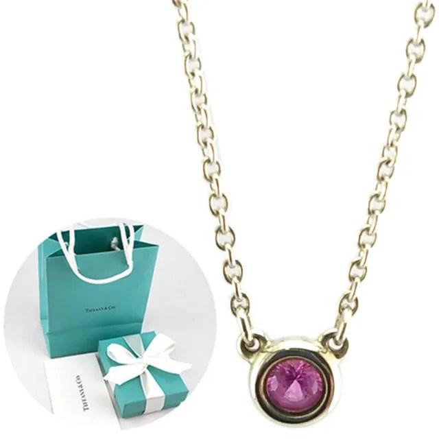 【Tiffany&Co. 蒂芙尼】鑲圓形粉紅色藍寶石925純銀項鍊