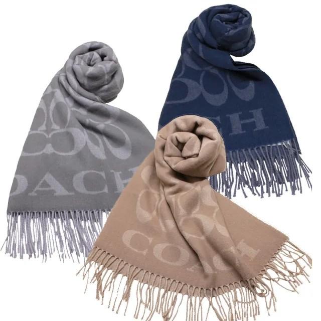 【COACH】經典LOGO喀什米爾羊毛寬版圍巾/披巾-義大利製(任選)