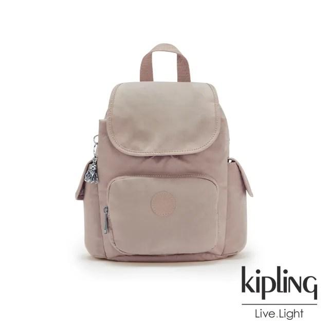 【KIPLING】玫瑰拿鐵色拉鍊掀蓋後背包-CITY PACK MINI