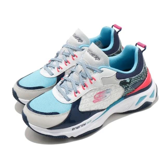【SKECHERS】休閒鞋 Energy Racer 增高 老爹鞋 女鞋 異材質拼接 止滑 耐用 穿搭 白 藍(149372WBLP)