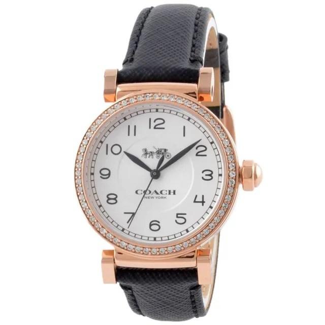 【COACH】Madison玫瑰金鋯石圓框X黑色皮革錶帶手錶