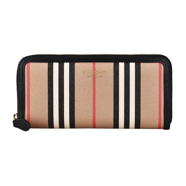 【BURBERRY 巴寶莉】BURBERRY Icon Stripe燙金LOGO條紋設計環保帆布6卡拉鍊長夾(典藏米)