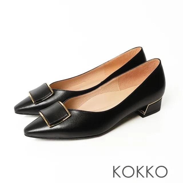 【KOKKO 集團】超舒服方頭柔軟羊皮方塊跟鞋(經典黑)