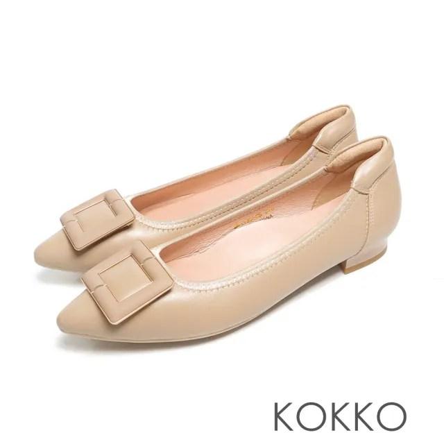 【KOKKO 集團】經典尖頭方扣柔軟羊皮舒壓粗跟鞋(米灰色)