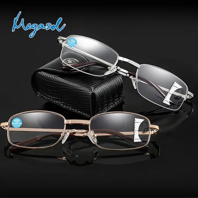 【MEGASOL】濾藍光抗UV俐落半方框便攜折疊漸進多焦老花眼鏡(俐落半框全框摺疊款-8017)