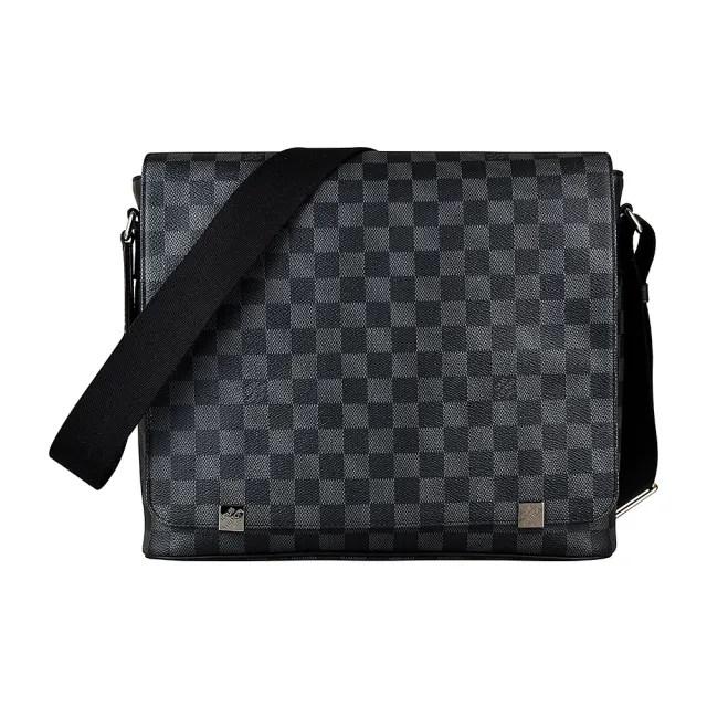 【Louis Vuitton 路易威登】LV N41029 DISTRICT棋盤格LOGO Damier Graphite帆布扣式斜背包(黑灰)