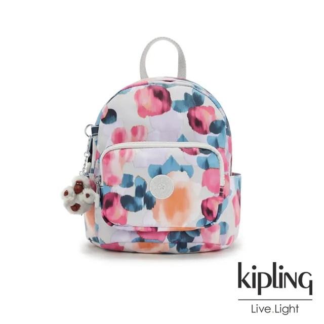【KIPLING】繽紛夢幻花繪輕巧迷你後背包-MINI BACKPACK
