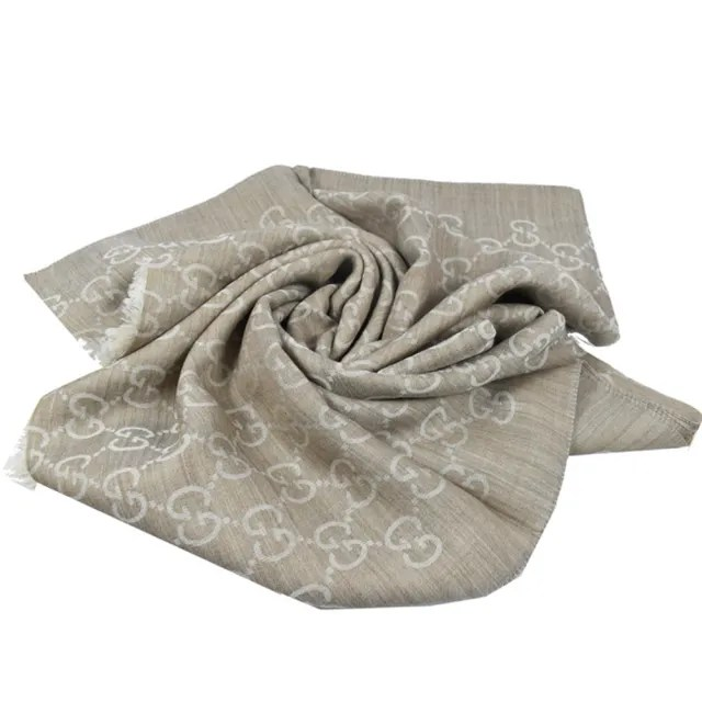 【GUCCI 古馳】雙G緹花羊毛絲綢流蘇披肩長圍巾大絲巾(褐咖)