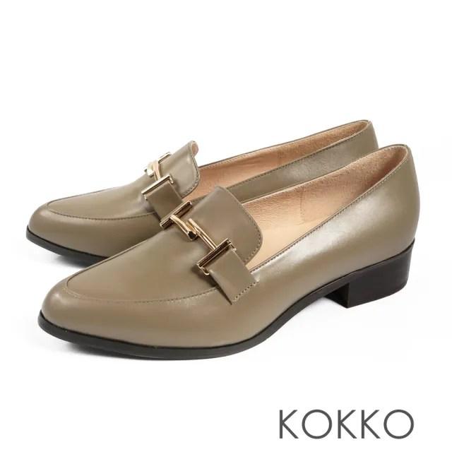 【KOKKO】薇多莉亞真皮舒壓尖頭粗跟鞋(清晨灰霧)