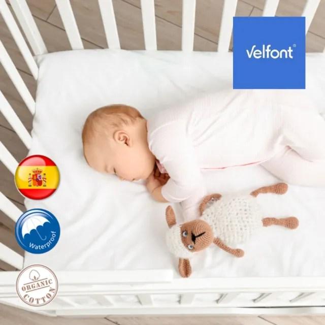 【西班牙Velfont】有機棉嬰兒床防水2合1保潔墊床包(60X120公分  白色)