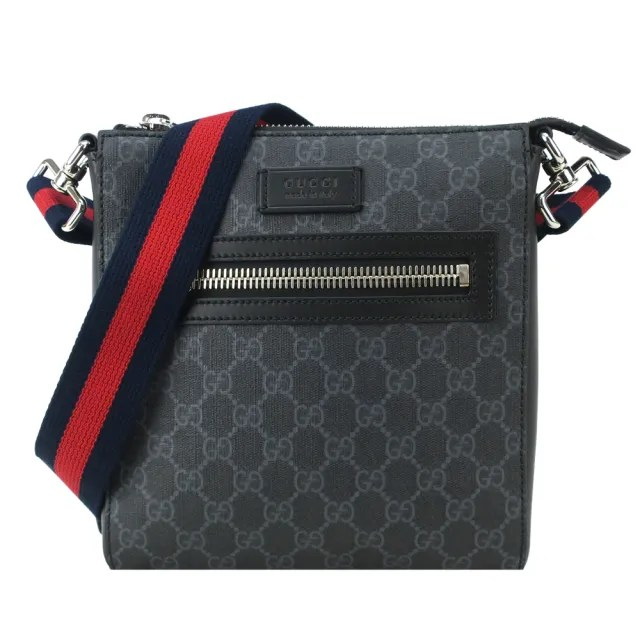 【GUCCI 古馳】Supreme 防刮PVC紅藍條紋背帶拉鍊斜背包(黑灰)