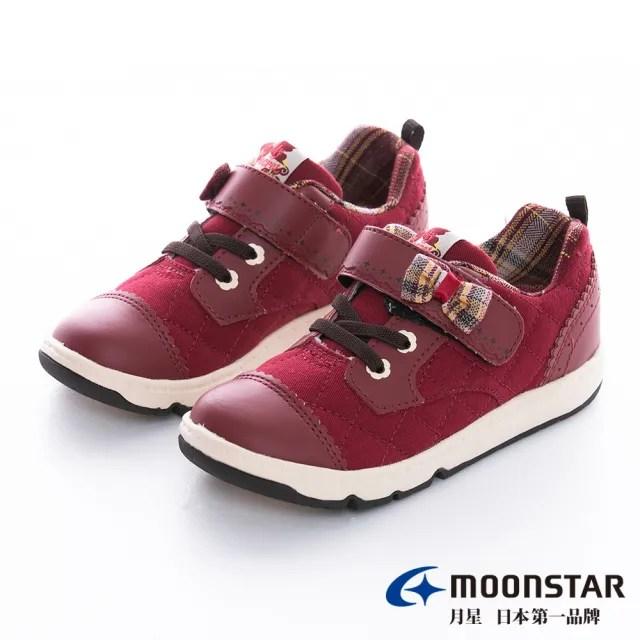【MOONSTAR 月星】WAGAMAMA系列-2E寬楦英式STYLE童鞋(紅色)