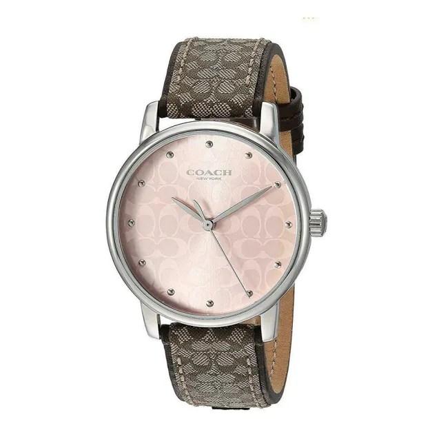 【COACH】粉色c logo錶面經典咖啡織紋布c logo錶帶時尚腕錶(885997331111)