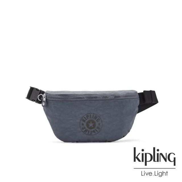 【KIPLING】高雅岩石霧藍灰潮流簡約隨身腰包-FRESH LITE