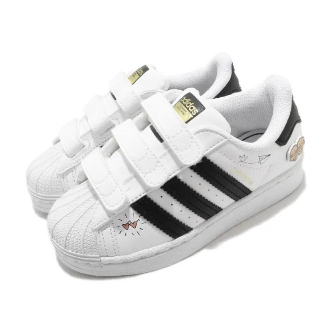 【adidas 愛迪達】童鞋 休閒鞋 Superstar CF C   愛迪達 三葉草 魔鬼氈 皮革 愛心 中童 白 黑(FZ0615)
