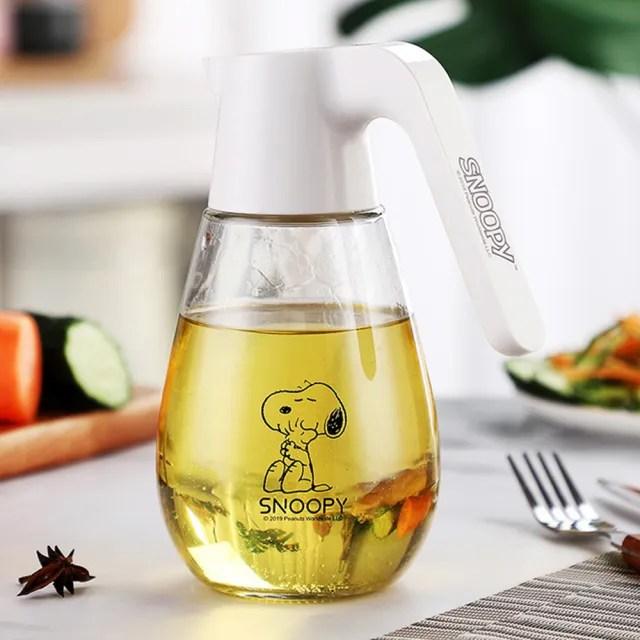 【SNOOPY 史努比】史努比玻璃油壺自動開合蓋580ml油罐(香油壺 醬油瓶)