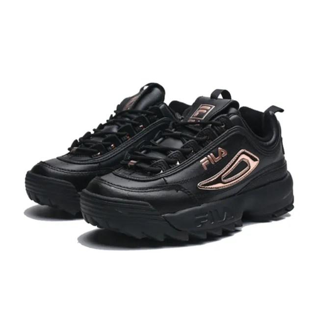 【FILA】DISRUPTOR 2 II 鋸齒 黑 玫瑰金 復古 老爹鞋 鋸齒鞋 男女(5C608T040)