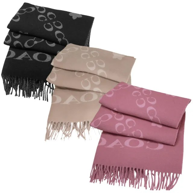 【COACH】C LOGO羊毛寬版雙口袋厚圍巾/披巾-義大利製(任選)