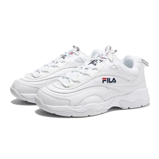 【FILA】休閒鞋 老爹鞋 全白 藍紅LOGO 經典 皮革 復古 男(4C101T111)