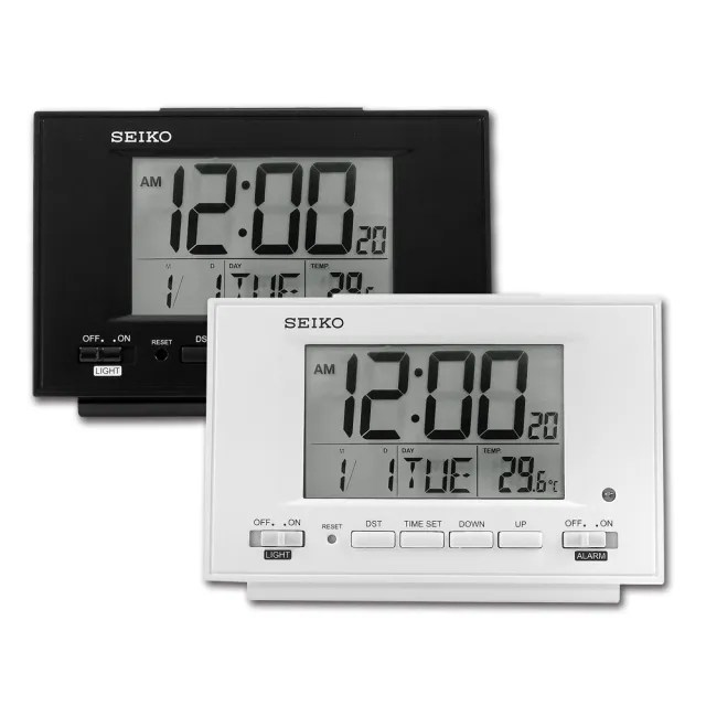 【SEIKO 精工】自動感光 溫度 日期 貪睡鬧鈴 長方形鬧鐘 電子鐘(QHL075)