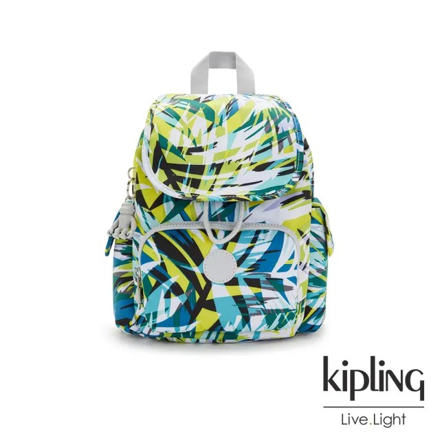 【KIPLING】手繪棕櫚樹印花拉鍊掀蓋後背包-CITY PACK MINI