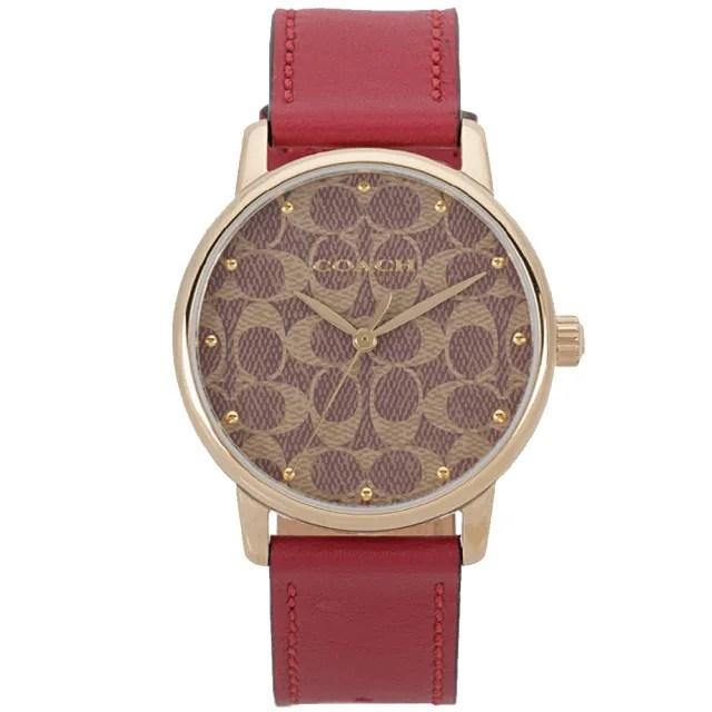 【COACH】GRAND 金框X卡其滿版LOGO錶盤紅色皮革錶帶手錶