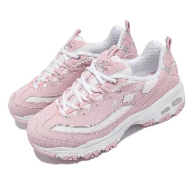 【SKECHERS】休閒鞋 D Lites-Flower Haze 女鞋 老爹鞋 厚底 斯小花 吸震 耐磨 粉 白(149466LTPK)