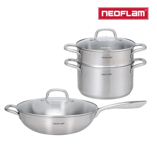 【NEOFLAM】不銹鋼31632cm炒鍋+湯鍋24cm+蒸籠鍋具組(含玻璃蓋)