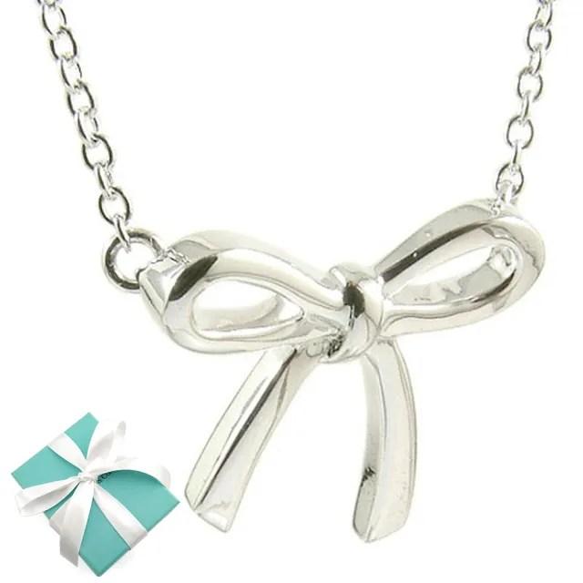 【Tiffany&Co. 蒂芙尼】Bow 蝴蝶結墜飾925純銀項鍊