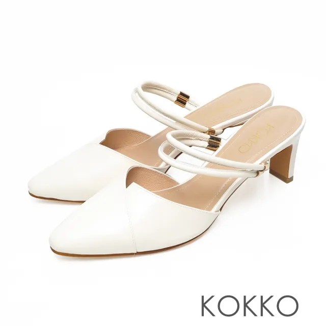 【KOKKO 集團】經典尖頭2way不對稱剪裁穆勒扁跟鞋(奶霜白)
