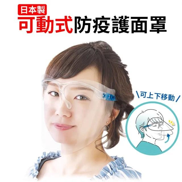 日本製防疫防護面罩 可動式 透明(4組裝)